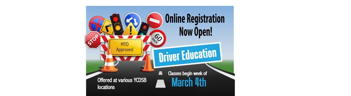 Driver Education Registration Now Open
